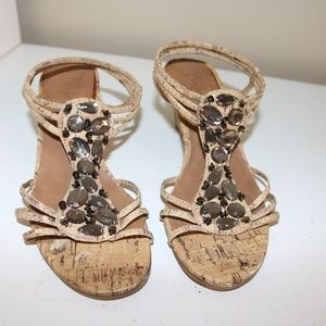 Jaclyn Smith brown cork look heels size 6